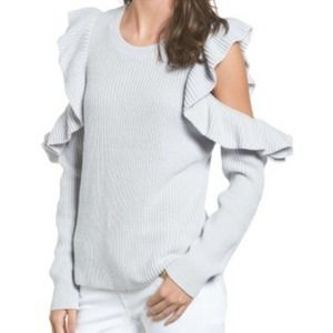 BP. sweater gray ruffle cold shoulder